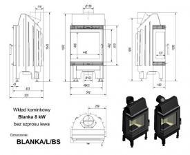 Чертеж и размеры топки Kratki BLANKA/P/BS