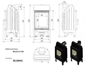 Чертеж и размеры топки Kratki BLANKA/670/570/P/BS
