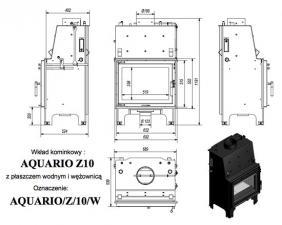 Чертеж и размеры топки Kratki AQUARIO/Z/10/PW/W