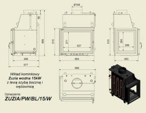 Чертеж и размеры топки Kratki ZUZIA/PW/BL/15/W/Z