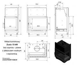 Чертеж и размеры топки Kratki ZUZIA/PW/BP/15/BS/W