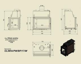 Чертеж и размеры топки Kratki OLIWIA/PW/BP/17/W/Z