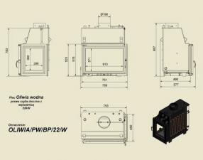 Чертеж и размеры топки Kratki OLIWIA/PW/BP/22/W/Z