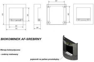 Фото чертежа и размера биокамина Kratki AF (черный)
