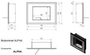 Фото чертежа и размера биокамина Kratki ALPHA со стеклом (черный)