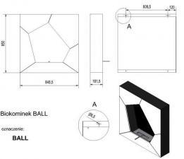 Фото чертежа и размера биокамина Kratki BALL