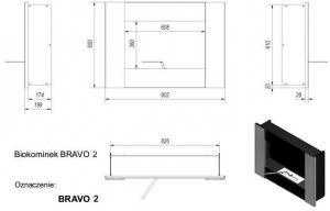 Фото чертежа и размера биокамина Kratki BRAVO 2 со стеклом (черный)