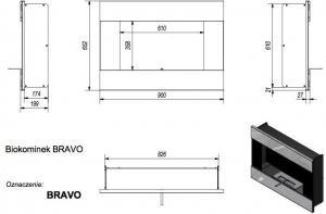 Фото чертежа и размера биокамина Kratki BRAVO со стеклом (черный)