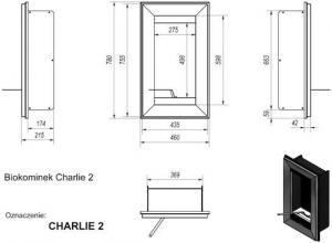 Фото чертежа и размера биокамина Kratki CHARLIE 2 со стеклом (черный)
