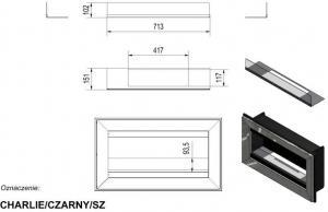 Фото чертежа и размера биокамина Kratki CHARLIE со стеклом (черный)