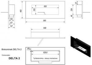 Фото чертежа и размера биокамина Kratki DELTA 2 (сталь) со стеклом