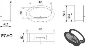 Фото чертежа и размера биокамина Kratki ECHO (черный)