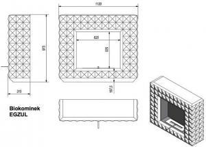 Фото чертежа и размера биокамина Kratki EGZUL SWAROVSKI (черный матовый)