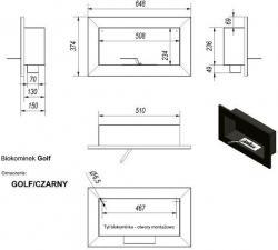 Фото чертежа и размера биокамина Kratki GOLF со стеклом (сталь)