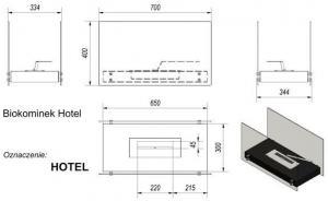 Фото чертежа и размера биокамина Kratki HOTEL