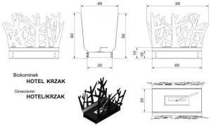 Фото чертежа и размера биокамина Kratki HOTEL КУСТ