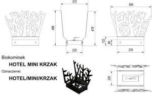 Фото чертежа и размера биокамина Kratki HOTEL КУСТ MINI