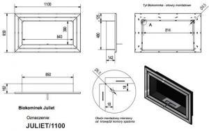 Фото чертежа и размера биокамина Kratki JULIET со стеклом