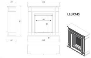 Фото чертежа и размера биокамина Kratki LEGIONIS