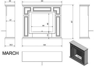 Фото чертежа и размера биокамина Kratki MARCH
