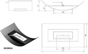 Фото чертежа и размера биокамина Kratki MISA (белый)