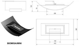 Фото чертежа и размера биокамина Kratki MISA MINI (белый)