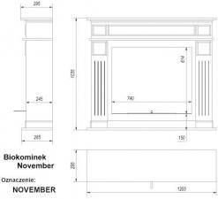 Фото чертежа и размера биокамина Kratki NOVEMBER