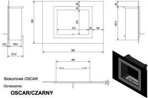 Фото чертежа и размера биокамина Kratki OSCAR (черный)