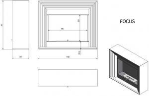 Фото чертежа и размера биокамина Kratki PLANET