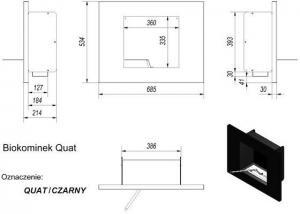 Фото чертежа и размера биокамина Kratki QUAT со стеклом (сталь)