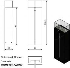 Фото чертежа и размера биокамина Kratki ROMEO