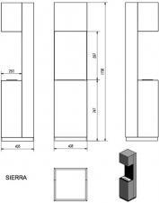 Фото чертежа и размера биокамина Kratki SIERRA со стеклом