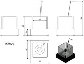 Фото чертежа и размера биокамина Kratki TANGO 3 (черный)