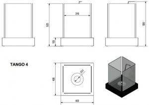 Фото чертежа и размера биокамина Kratki TANGO 4 (черный)