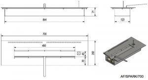 Фото чертежа и размера контейнера SPARK/700