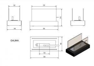 Фото чертежа и размера набора с биокамином GALINA, биотопливом(2шт.х1.5л.), зажигалкой