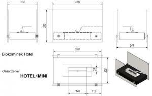 Фото чертежа и размера набора с биокамином HOTEL MINI, биотопливом(1шт.х1.5л.), зажигалкой