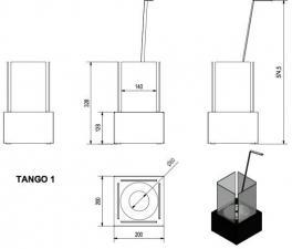 Фото чертежа и размера набора с биокамином TANGO 1, биотопливом(1шт.х1.5л.), зажигалкой