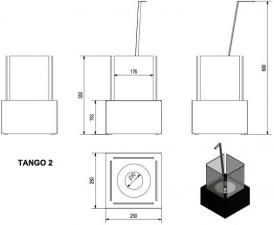 Фото чертежа и размера набора с биокамином TANGO 2, биотопливом(1шт.х1.5л.), зажигалкой