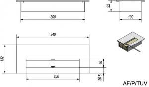 Фото чертежа и размера прямоугольного контейнера Petit, TUV