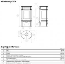 Чертеж и размеры печи-камина ABX Atrium 5