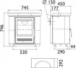 Чертеж и размеры печи-камина ABX Bavaria K