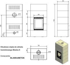 Чертеж и размеры печи-камина Kratki BLANKA/BETON