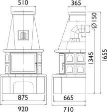 Чертеж и размеры печи-камина ABX Estonie 6