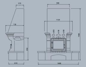 Чертеж и размеры печи-камина ABX Glasgow Klasik (угловой)