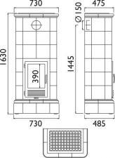 Чертеж и размеры печи-камина ABX Kaledonie (вставка КОМБО)