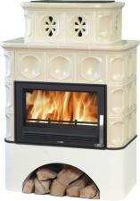 Печь-камин ABX Karelie (белый цоколь, вставка стальная)