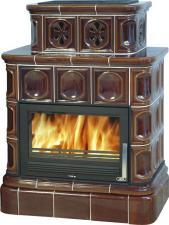 Печь-камин ABX Karelie (кафельный цоколь, вставка стальная)