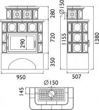 Чертеж и размеры печи-камина ABX Karelie с теплообменником