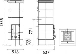 Чертеж и размеры печи-камина ABX Kiruna 6